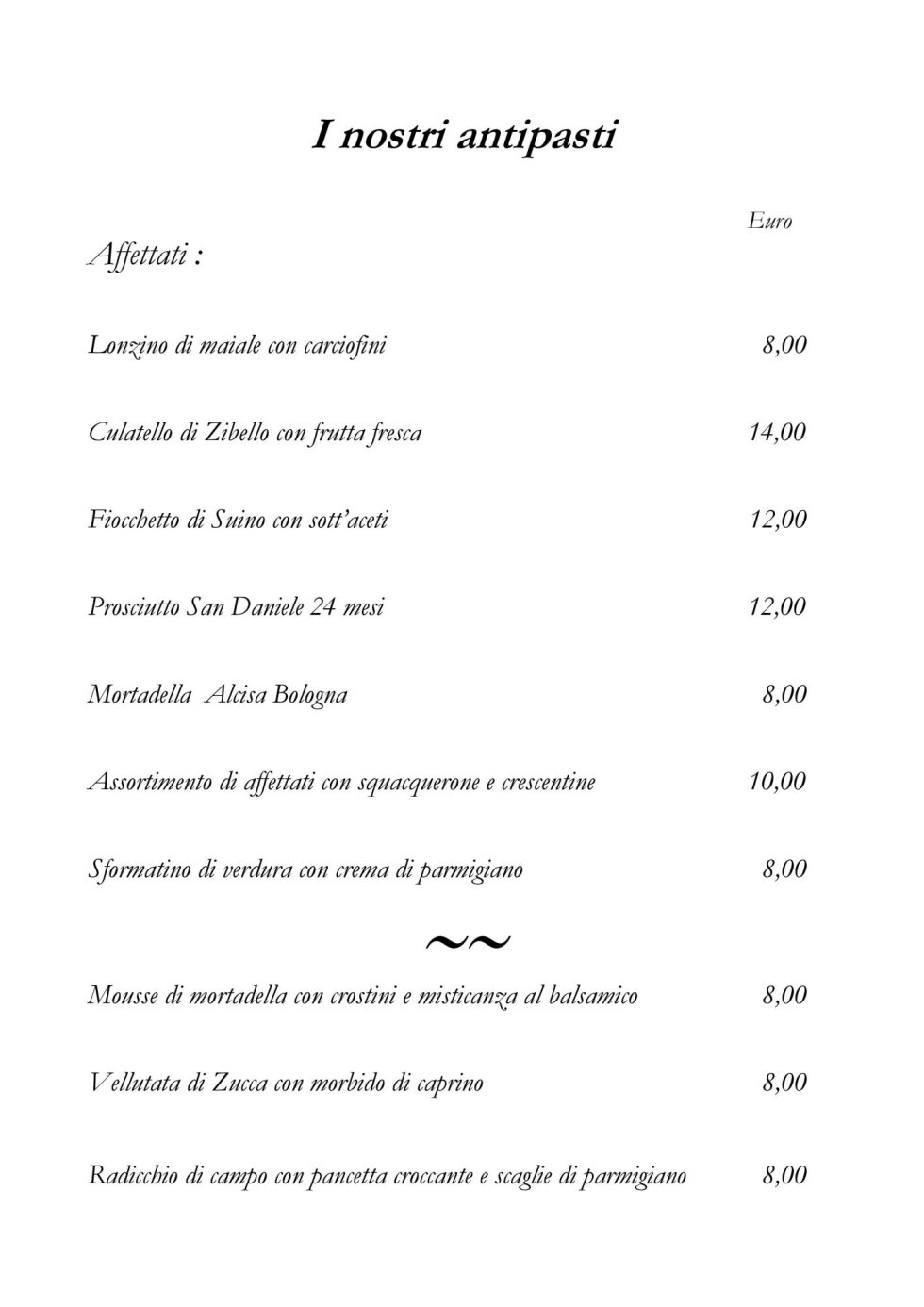 Antipasti menu