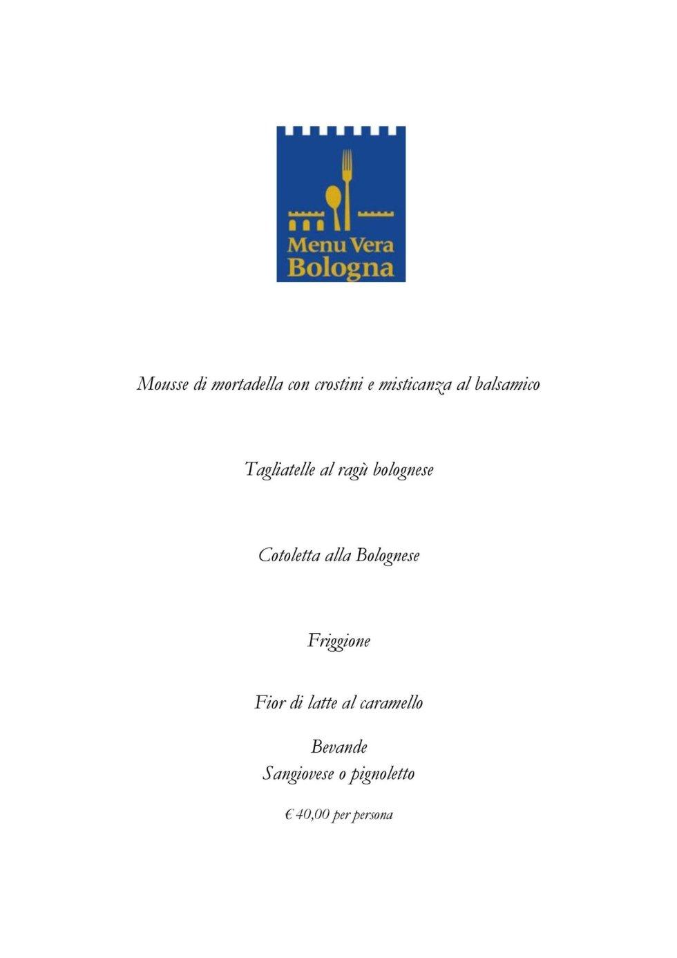 Menu vera Bologna