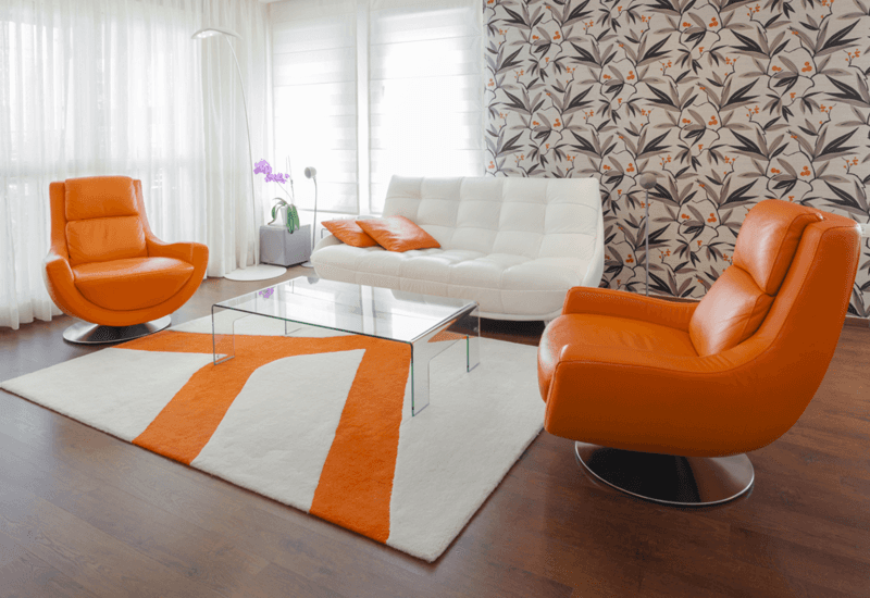 Orange and white carpet