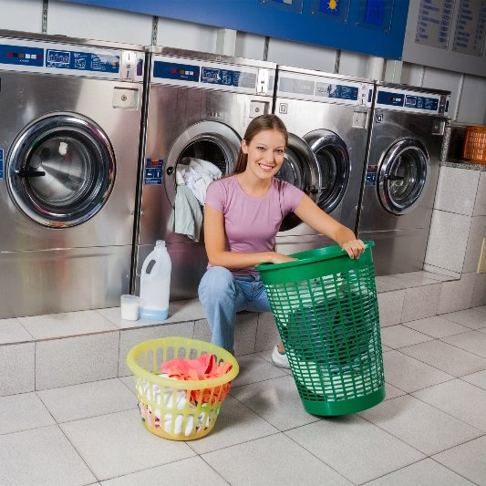 Woman sorting laundry to wash.