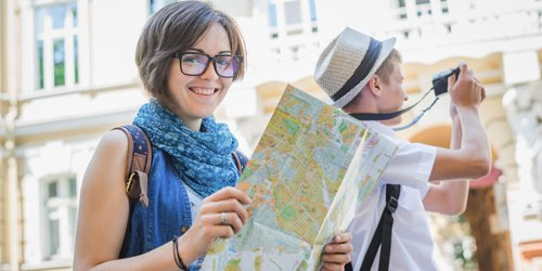 Women checking the city map