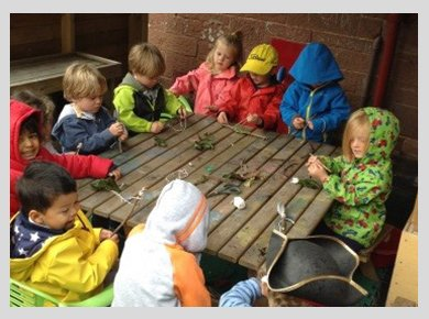 Toddlers in outdoor clothing, sitting around a table looking at twigs and leaves they've found on their walk