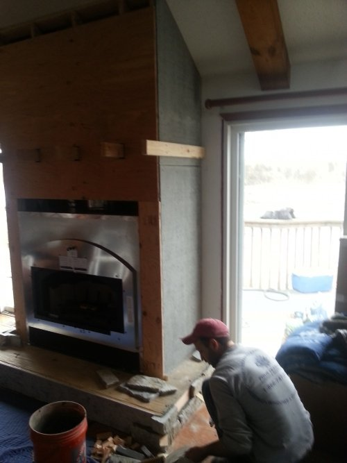 Chimney repair in progress