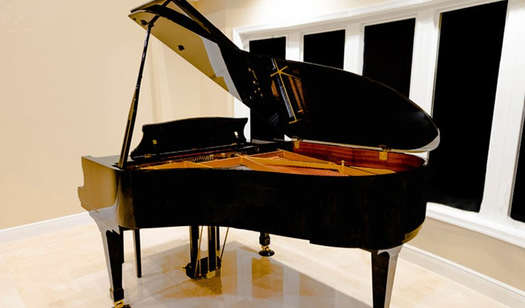 Grand piano in showroom