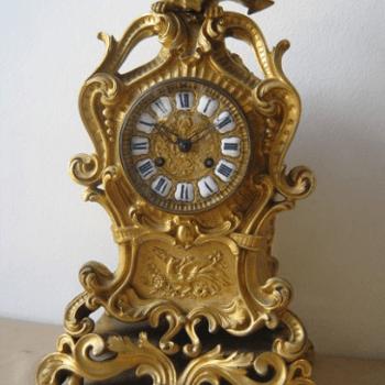 pensola, orologio da tavola, oro, orologio antico