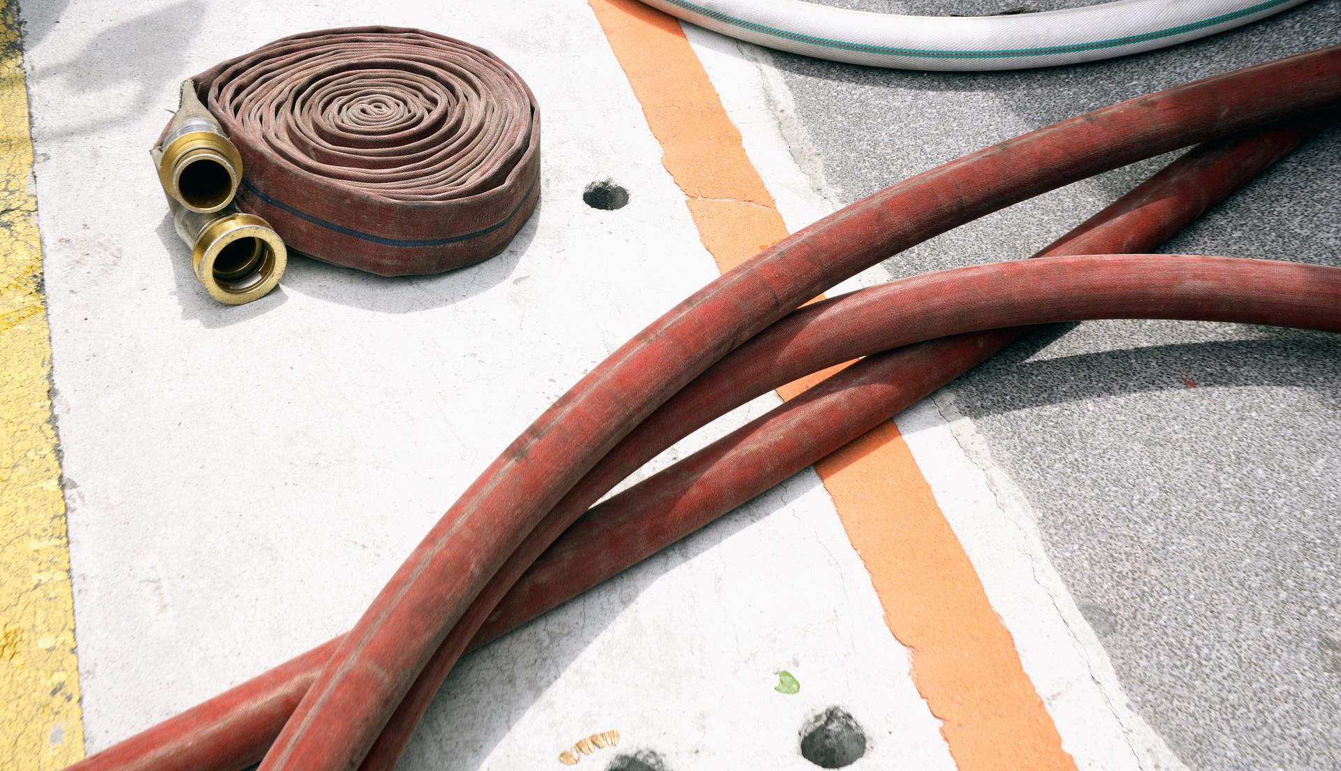 A series of hoses used for pumping