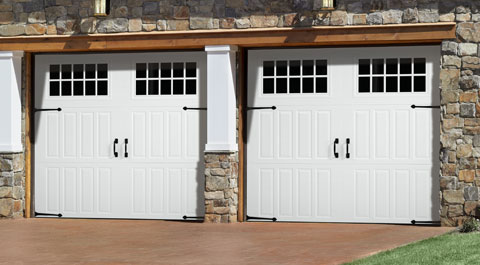Garage with beautiful custom doors