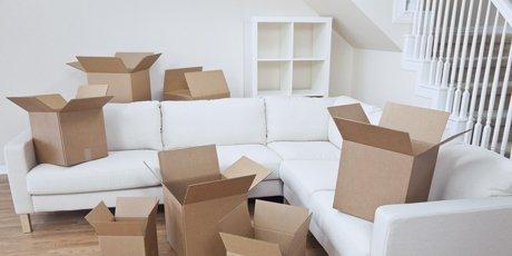 boxes on sofa
