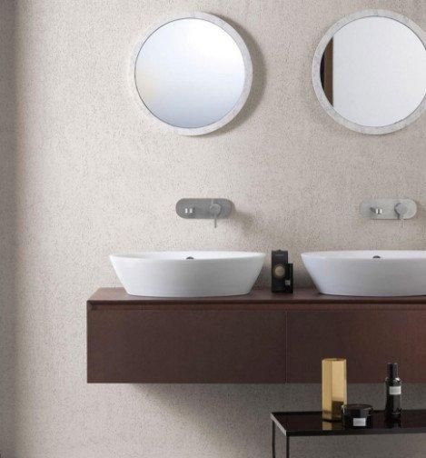 doppio lavandinoin ceramica con base in legno