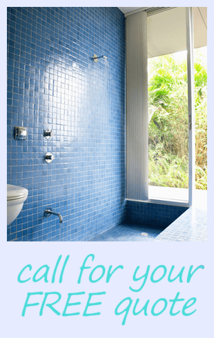 blue tiled wet room and the word,