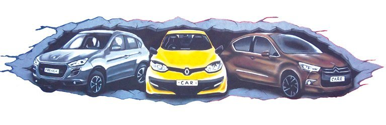 french car care cars illustration