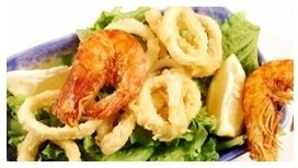 fried calamari and vegetables