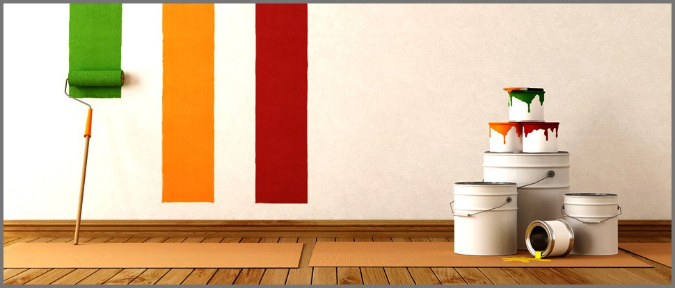 White wall with a red, yellow and green strip of paint
