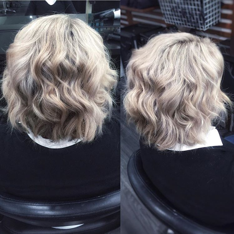 curly ash blonde medium bob