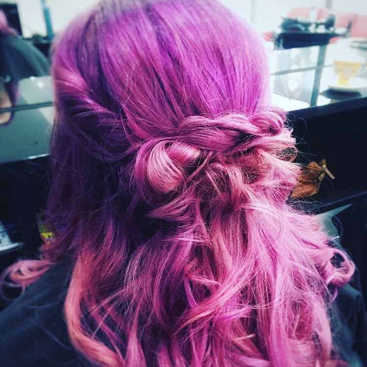purple half updo hair