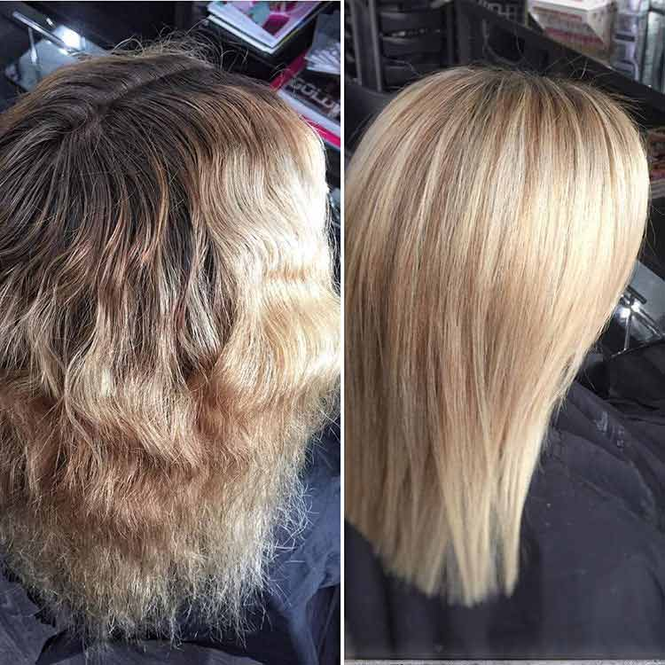 before and after of blonde colored hair