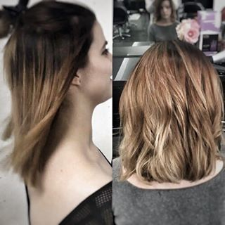 brown to blonde medium length baylage