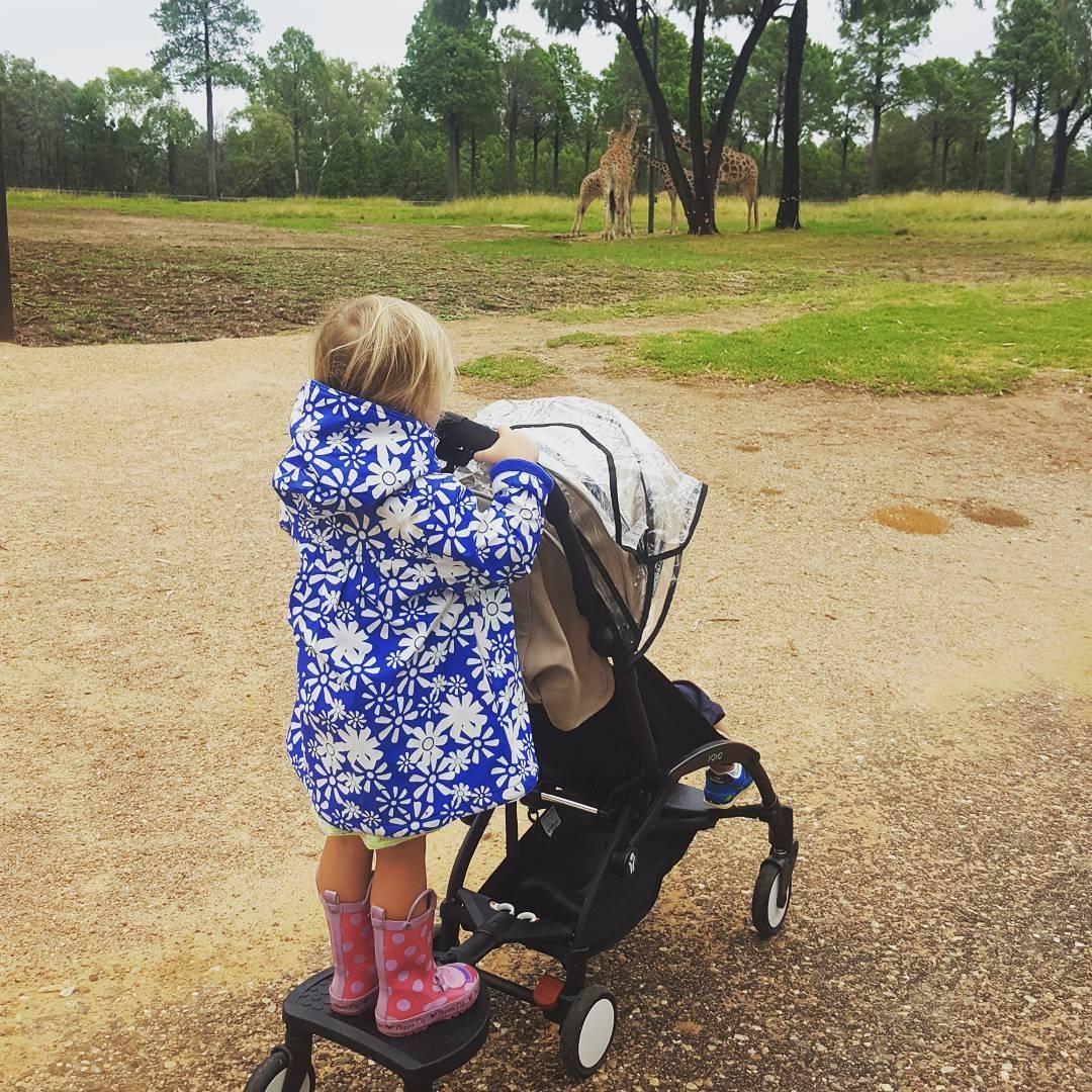 bambina in piedi su un passeggino