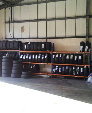 range of tyres on display