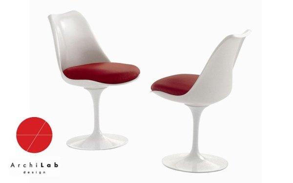 Sedia girevole con piedistallo in fusione di alluminio laccato bianco