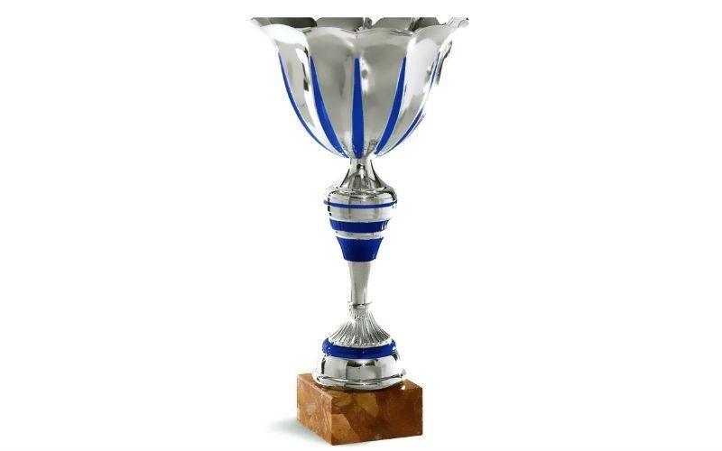 Coppa argentata blu