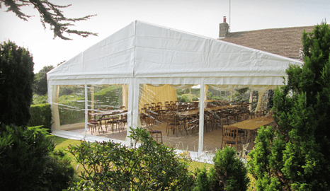 Hire a marquee buffet area