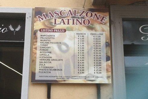 listino prezzi della pizzeria