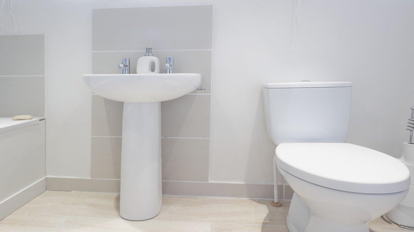 un lavabo e un wc in un bagno