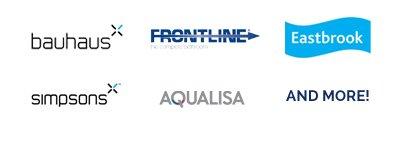 selection of tile company logos