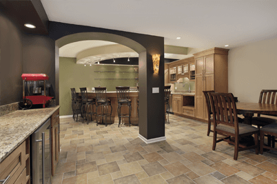 traditional kitchen with brickwork style tiles