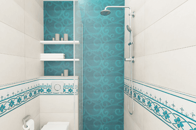 pretty bathroom with floral patterns