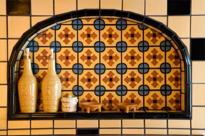 sink and tiled wall