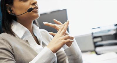 secretary with headset