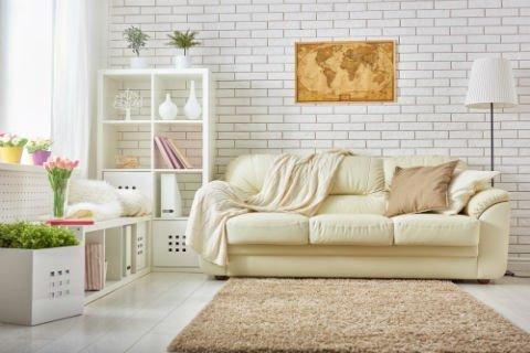 salotto con divano e libreria