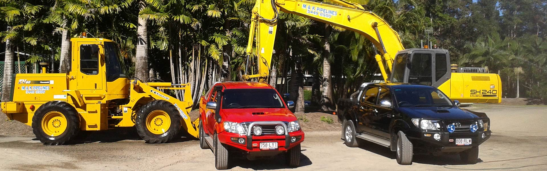m and k pipelines pty ltd excavator and our vehicle fleet