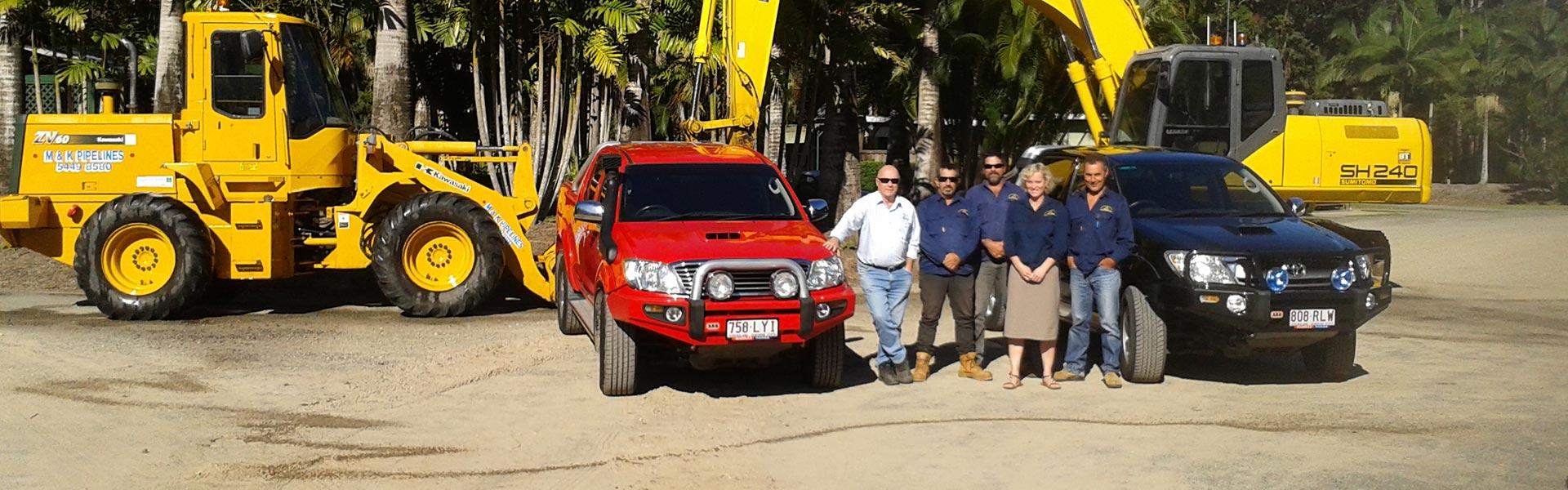 m and k pipelines pty ltd excavator vehicle fleet and our crew