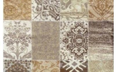 Tende di patchwork in tonalità marrone
