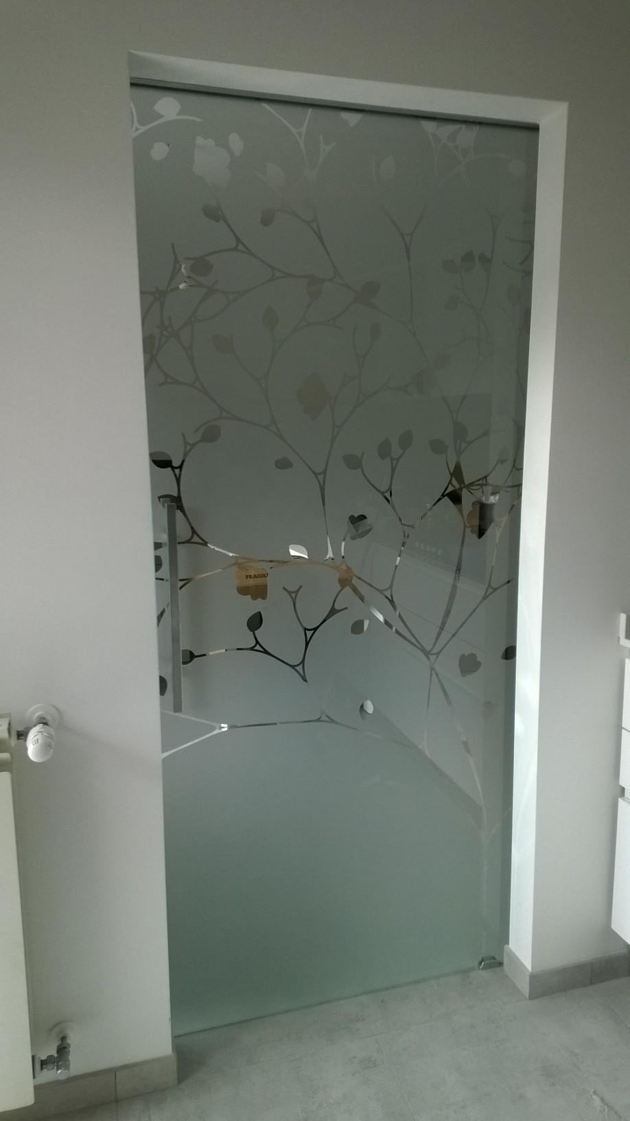 porta interna in vetro con disegno