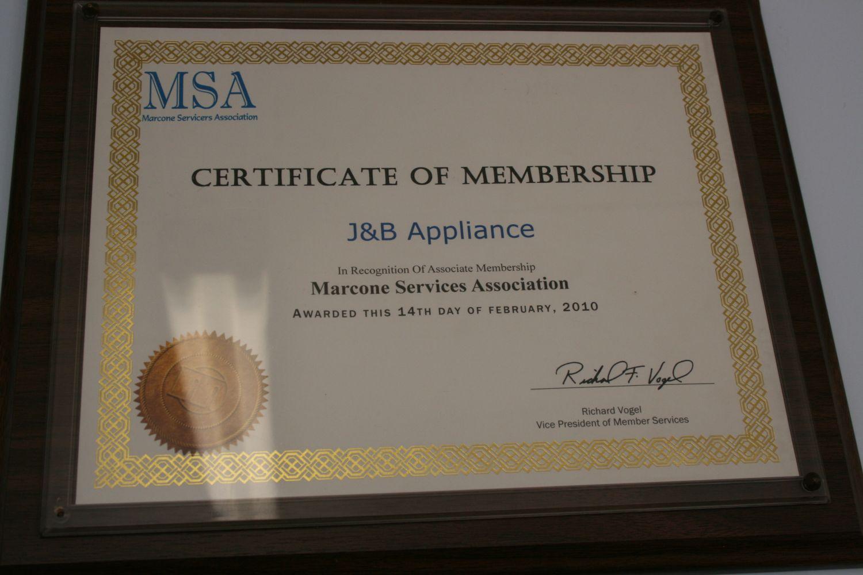 Certificate of Membership J&B Appliance