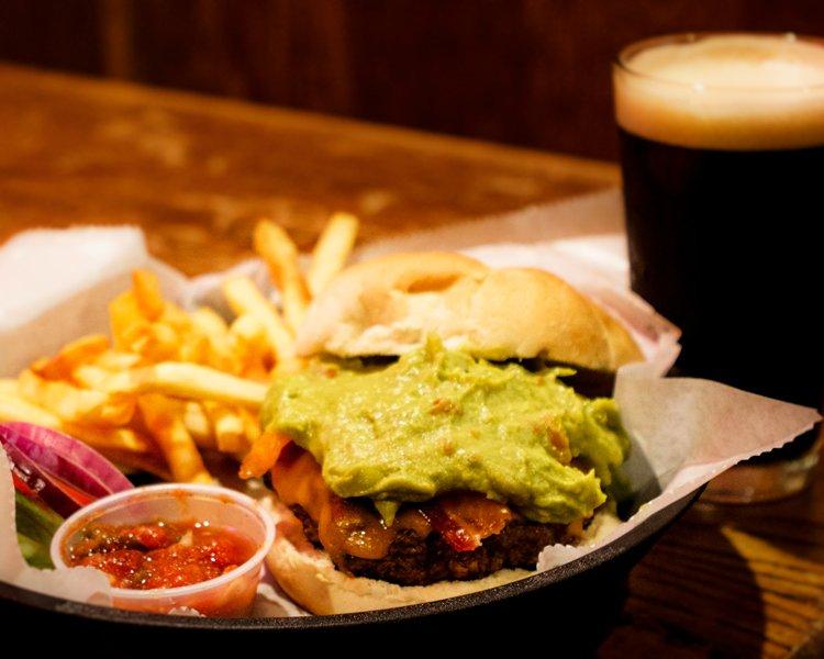 guacamole burger and fries