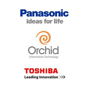 Panasonic Orchid Toshiba logos