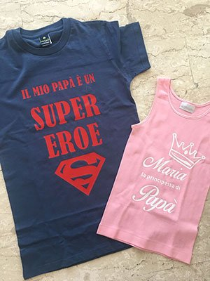 T-shirt serigrafate padre e figlia