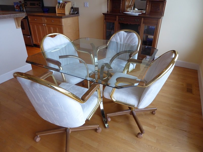 Brass & glass dinette table with chairs