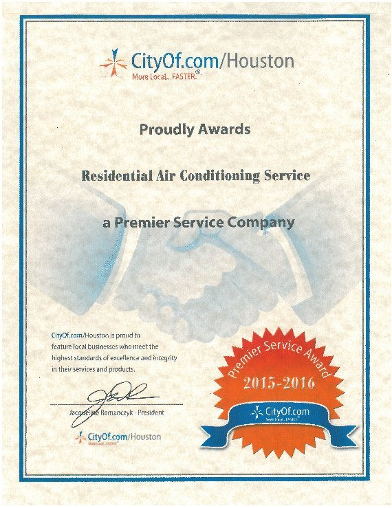 CityOf.com/Houston Residential Air Conditioning Service 2015-2016 Premier Service Award