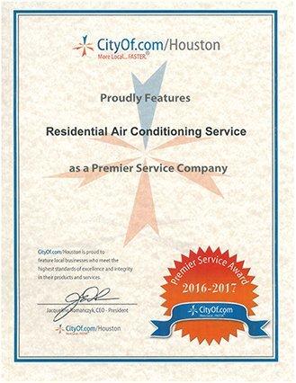 2015-2016 Premier Service Award Houston, TX