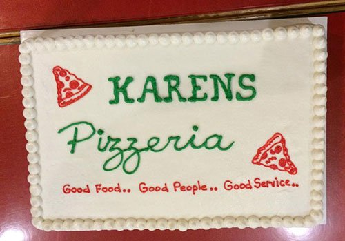 slab cake with pizza decoration