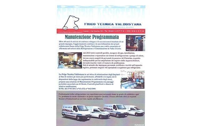 Locandina dei servizi di Frigo Tecnica Aosta