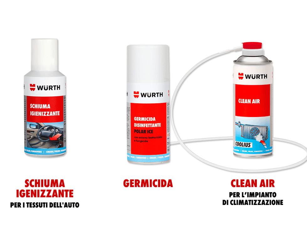Prodotti per la pulizia dell'auto marca Würth