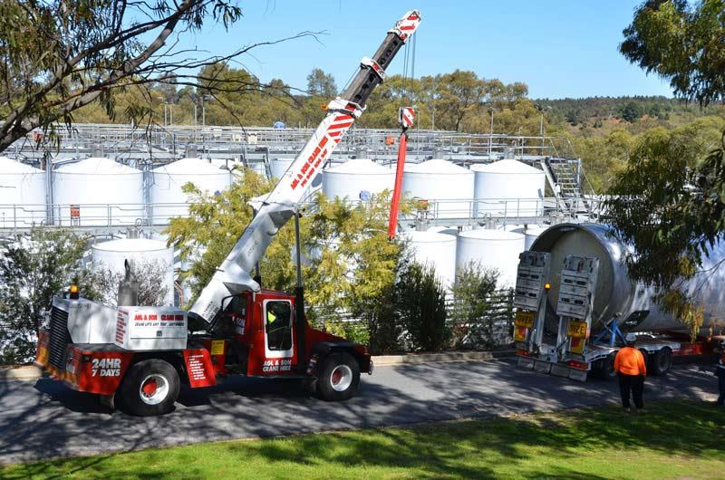 workers using crane
