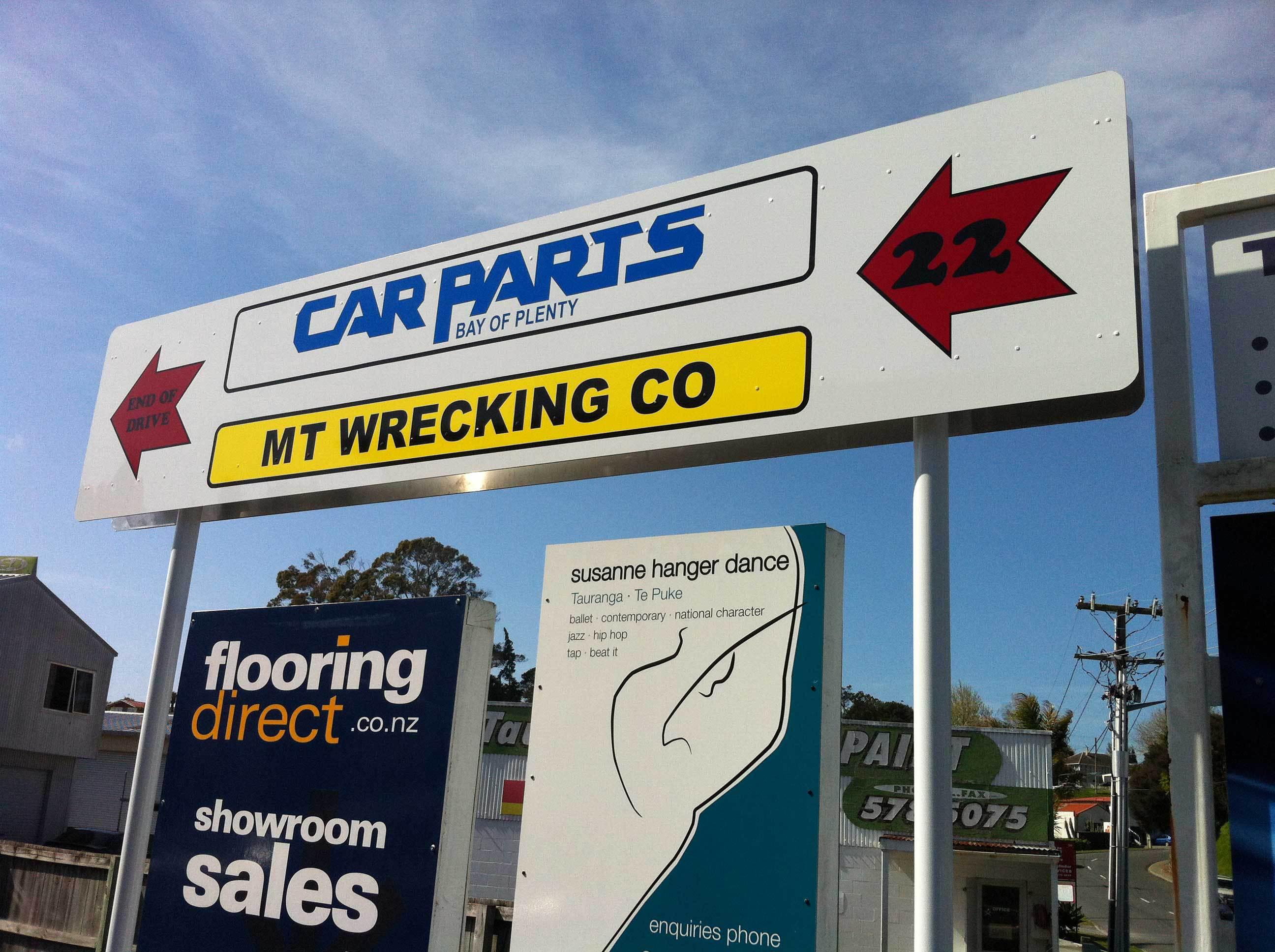 car parts sign